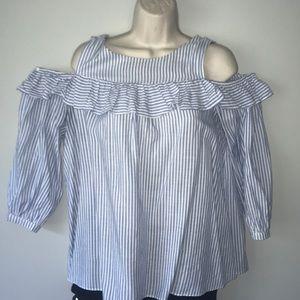 Entro summer pin-stripe shoulder cut out blouse